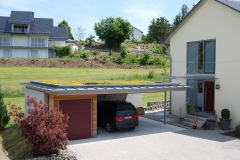 Begrünte Garage mit Carport